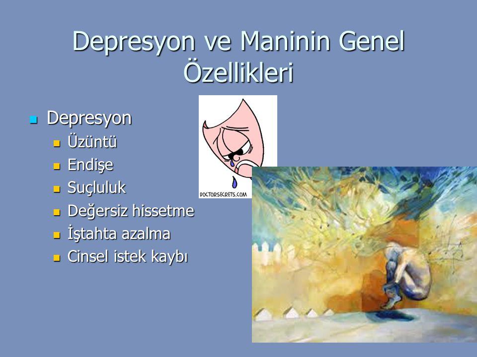 Depresyon ve Maninin Genel Özellikleri Depresyon Depresyon Üzüntü Üzüntü Endişe Endişe Suçluluk Suçluluk Değersiz hissetme Değersiz hissetme İştahta a