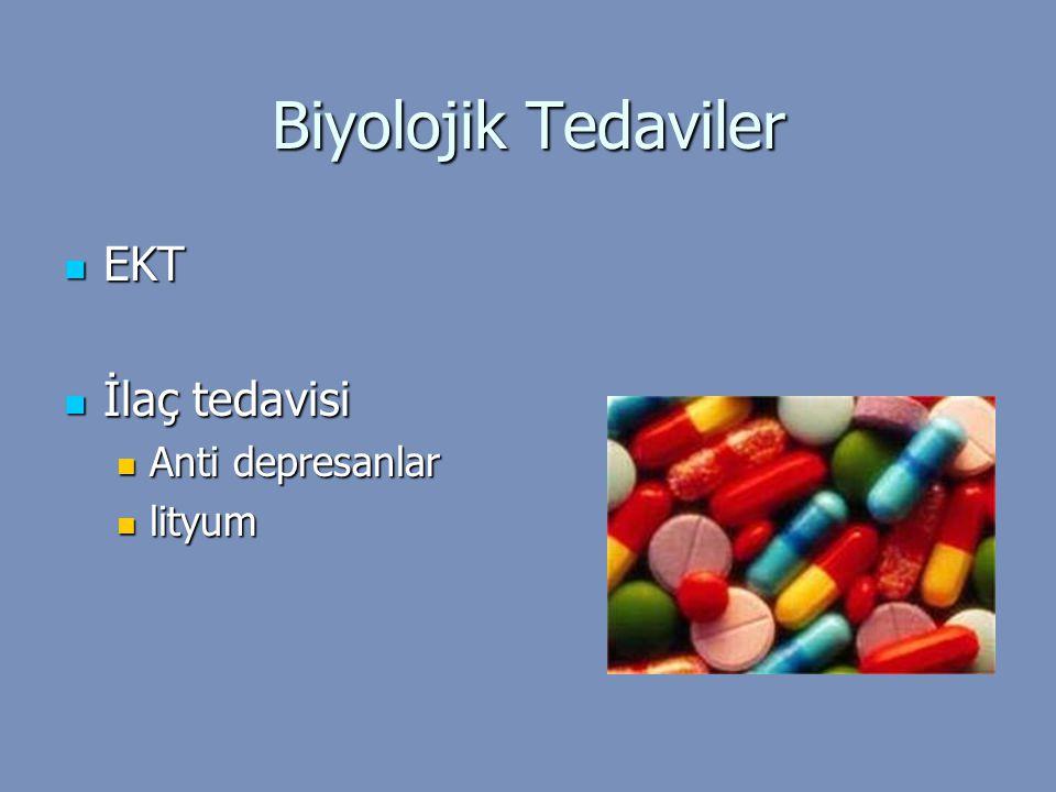 Biyolojik Tedaviler EKT EKT İlaç tedavisi İlaç tedavisi Anti depresanlar Anti depresanlar lityum lityum