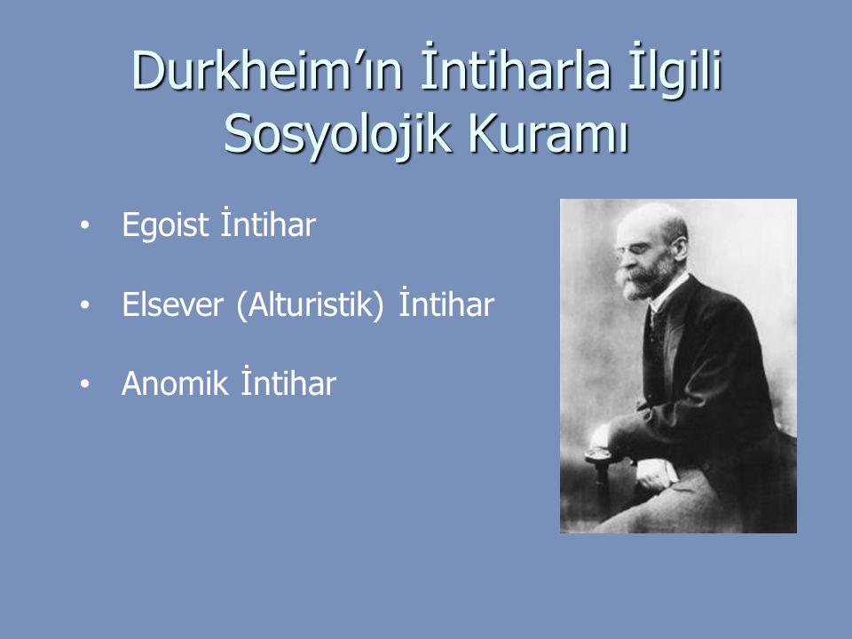 Durkheim'ın İntiharla İlgili Sosyolojik Kuramı Egoist İntihar Elsever (Alturistik) İntihar Anomik İntihar