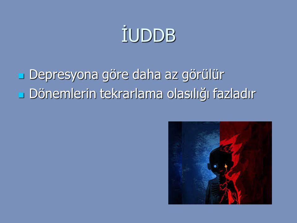 İUDDB Depresyona göre daha az görülür Depresyona göre daha az görülür Dönemlerin tekrarlama olasılığı fazladır Dönemlerin tekrarlama olasılığı fazladı