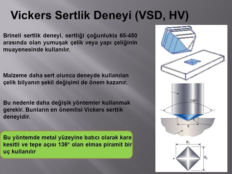 Vickers Sertlik Deneyi (VSD, HV) Brinell sertlik deneyi, sertliği çoğunlukla 65-450 arasında olan yumuşak çelik veya yapı çeliğinin muayenesinde kulla