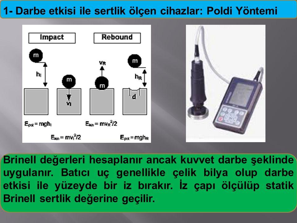 1- Darbe etkisi ile sertlik ölçen cihazlar: Poldi Yöntemi Brinell değerleri hesaplanır ancak kuvvet darbe şeklinde uygulanır. Batıcı uç genellikle çel