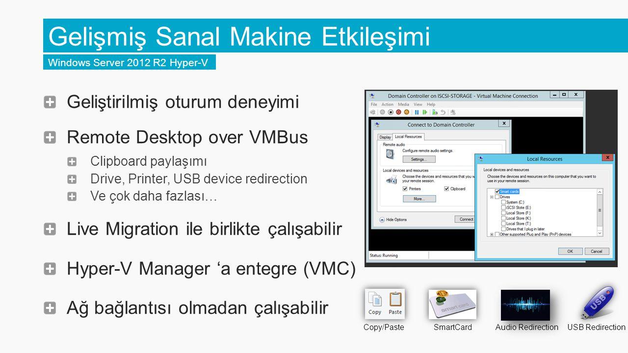 Geliştirilmiş oturum deneyimi Remote Desktop over VMBus Clipboard paylaşımı Drive, Printer, USB device redirection Ve çok daha fazlası… Live Migration ile birlikte çalışabilir Hyper-V Manager 'a entegre (VMC) Ağ bağlantısı olmadan çalışabilir Gelişmiş Sanal Makine Etkileşimi Windows Server 2012 R2 Hyper-V Copy/Paste SmartCard Audio Redirection USB Redirection