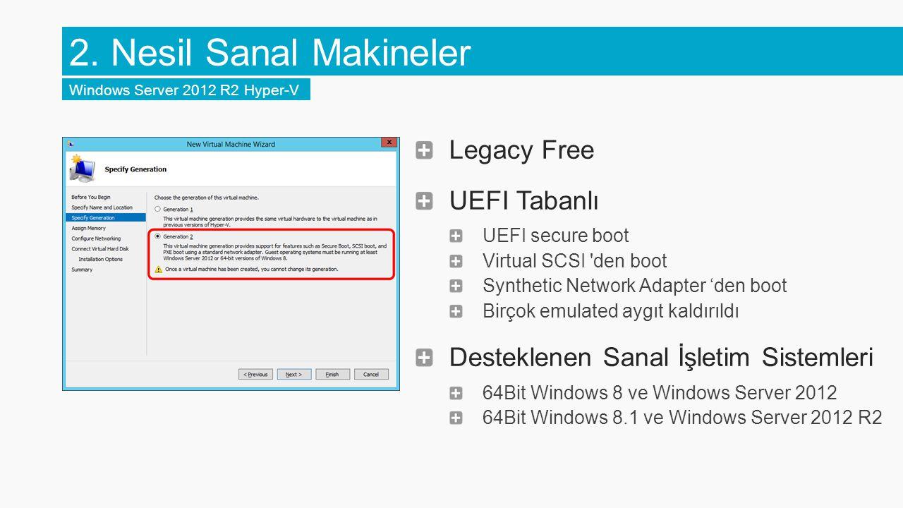 Legacy Free UEFI Tabanlı UEFI secure boot Virtual SCSI den boot Synthetic Network Adapter 'den boot Birçok emulated aygıt kaldırıldı Desteklenen Sanal İşletim Sistemleri 64Bit Windows 8 ve Windows Server 2012 64Bit Windows 8.1 ve Windows Server 2012 R2 2.