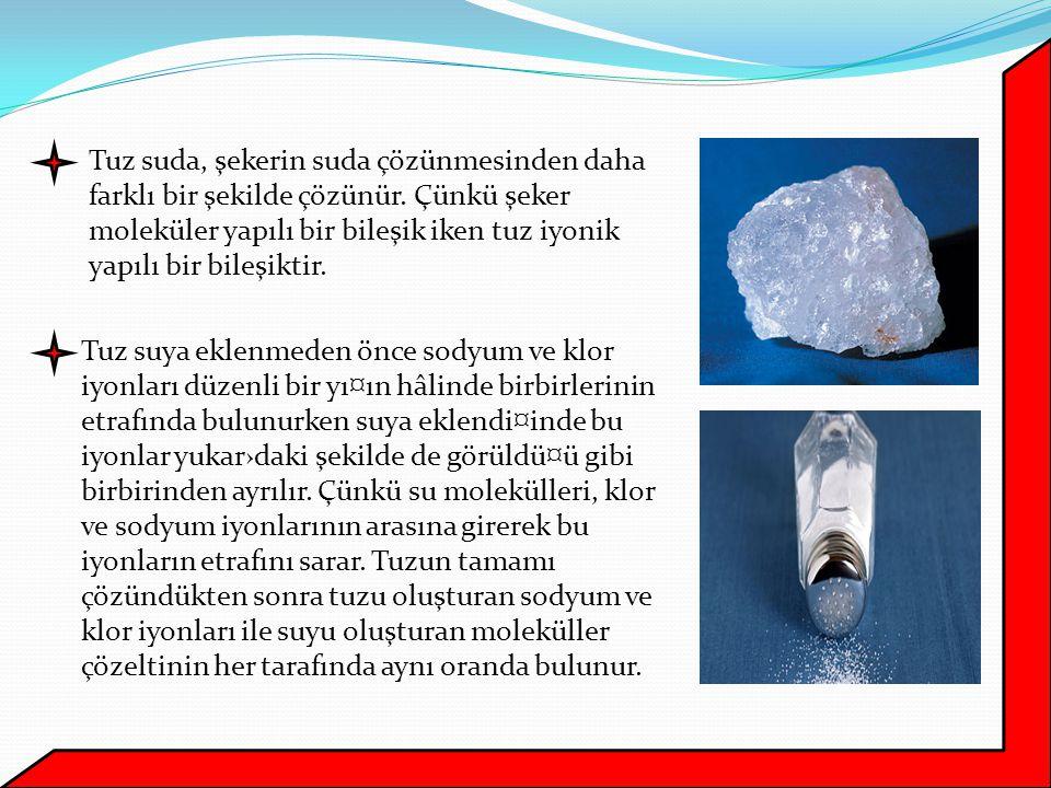 Tuzlu su elektrik ak›m›n› ilettiği için ampul ışık verir.