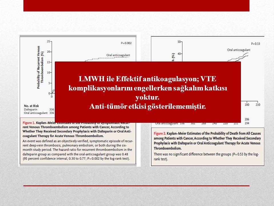 LMWH ile Effektif antikoagulasyon; VTE komplikasyonlarını engellerken sağkalım katkısı yoktur.