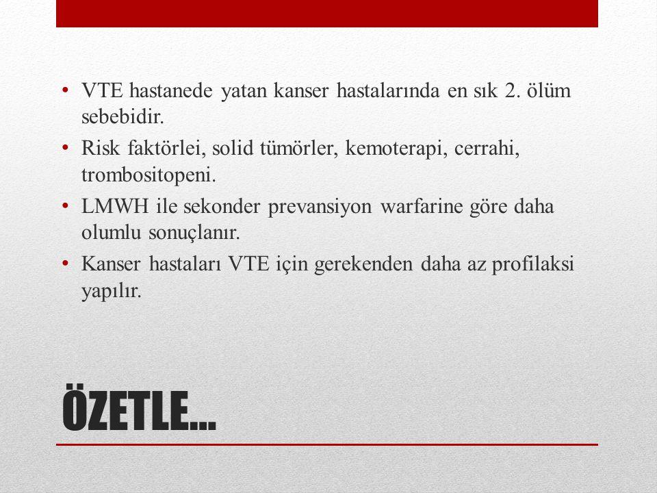 ÖZETLE… VTE hastanede yatan kanser hastalarında en sık 2.