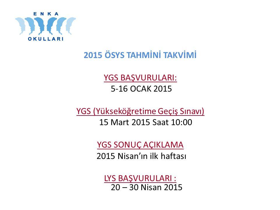 2015 ÖSYS TAHMİNİ TAKVİMİ YGS BAŞVURULARI: 5-16 OCAK 2015 YGS (Yükseköğretime Geçiş Sınavı) 15 Mart 2015 Saat 10:00 YGS SONUÇ AÇIKLAMA 2015 Nisan'ın ilk haftası LYS BAŞVURULARI : 20 – 30 Nisan 2015