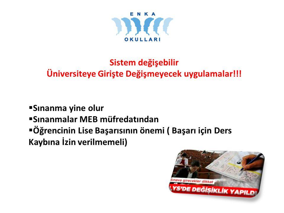 Sistem değişebilir Üniversiteye Girişte Değişmeyecek uygulamalar!!.