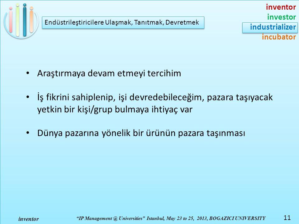 inventor investor industrializer incubator IP Management @ Universities Istanbul, May 23 to 25, 2013, BOGAZICI UNIVERSITY inventor 11 Endüstrileştiricilere Ulaşmak, Tanıtmak, Devretmek Araştırmaya devam etmeyi tercihim İş fikrini sahiplenip, işi devredebileceğim, pazara taşıyacak yetkin bir kişi/grup bulmaya ihtiyaç var Dünya pazarına yönelik bir ürünün pazara taşınması