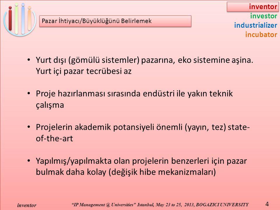 inventor investor industrializer incubator IP Management @ Universities Istanbul, May 23 to 25, 2013, BOGAZICI UNIVERSITY inventor 4 Yurt dışı (gömülü sistemler) pazarına, eko sistemine aşina.