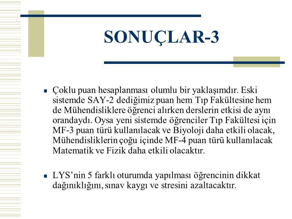 SONUÇLAR-3 Çoklu puan hesaplanması olumlu bir yaklaşımdır.