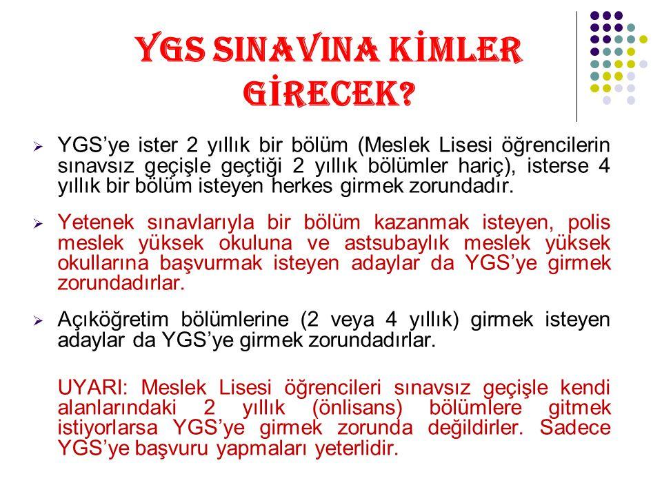 YGS SINAVINA K İ MLER G İ RECEK.