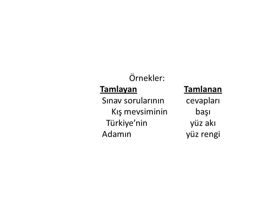 Örnekler: TamlayanTamlanan Sınav sorularınıncevapları Kış mevsimininbaşı Türkiye'ninyüz akı Adamınyüz rengi
