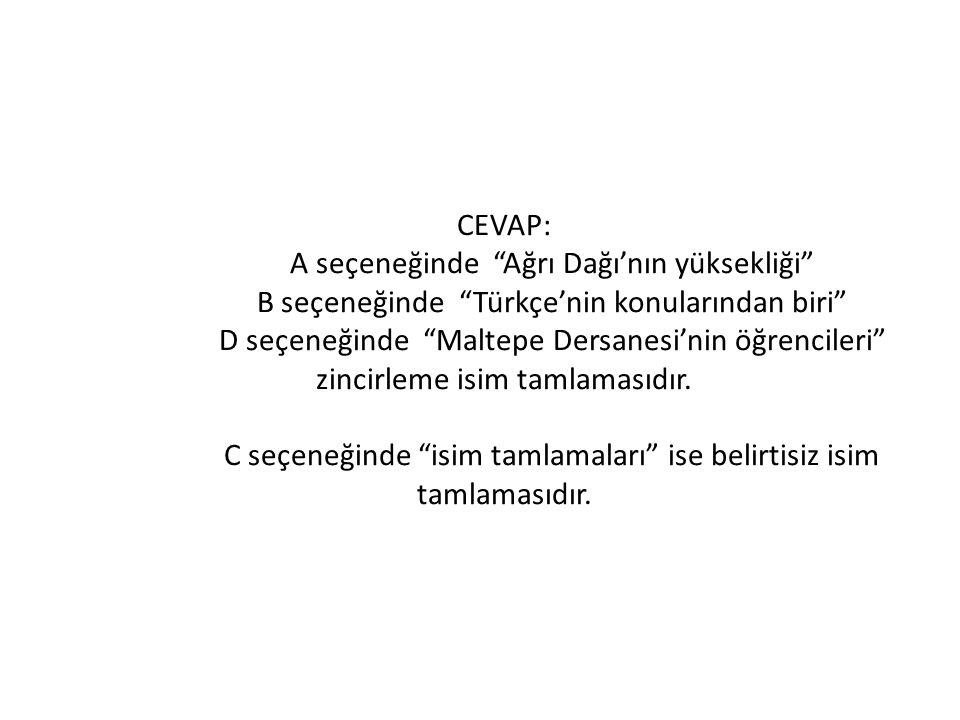 """CEVAP: A seçeneğinde """"Ağrı Dağı'nın yüksekliği"""" B seçeneğinde """"Türkçe'nin konularından biri"""" D seçeneğinde """"Maltepe Dersanesi'nin öğrencileri"""" zincirl"""