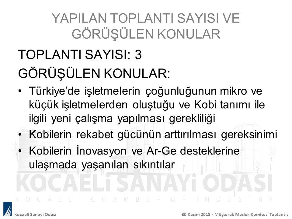 YAPILAN TOPLANTI SAYISI VE GÖRÜŞÜLEN KONULAR TOPLANTI SAYISI: 3 GÖRÜŞÜLEN KONULAR: Türkiye'de işletmelerin çoğunluğunun mikro ve küçük işletmelerden o