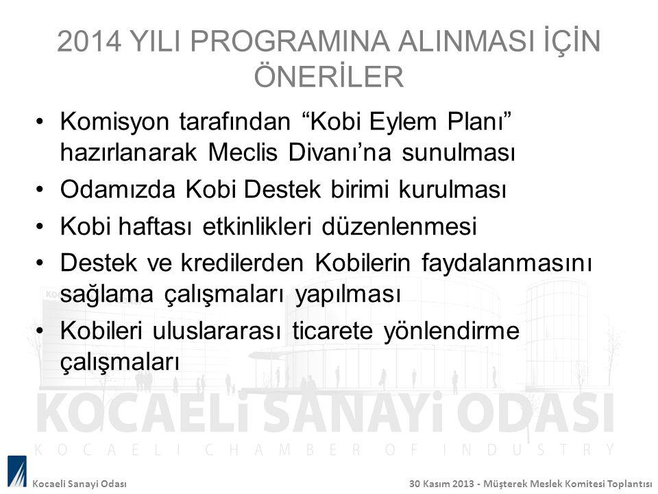 """2014 YILI PROGRAMINA ALINMASI İÇİN ÖNERİLER Komisyon tarafından """"Kobi Eylem Planı"""" hazırlanarak Meclis Divanı'na sunulması Odamızda Kobi Destek birimi"""