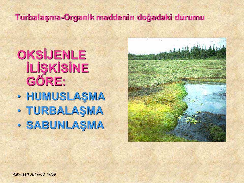 Turbalaşma-Organik maddenin doğadaki durumu OKSİJENLE İLİŞKİSİNE GÖRE: HUMUSLAŞMAHUMUSLAŞMA TURBALAŞMATURBALAŞMA SABUNLAŞMASABUNLAŞMA Kavuşan JEM408 1