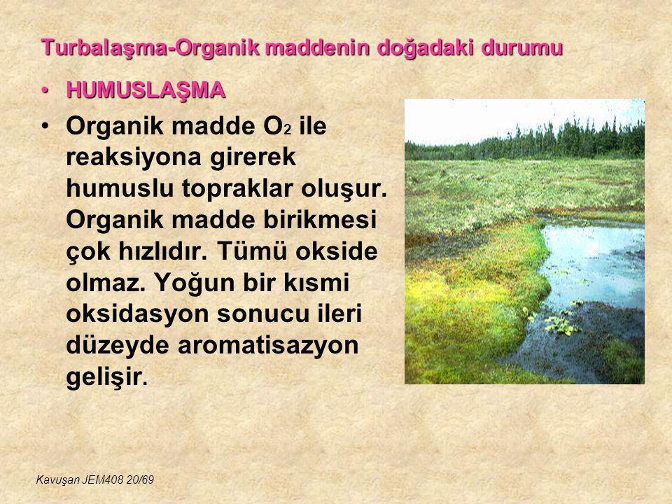 Turbalaşma-Organik maddenin doğadaki durumu HUMUSLAŞMAHUMUSLAŞMA Organik madde O 2 ile reaksiyona girerek humuslu topraklar oluşur. Organik madde biri