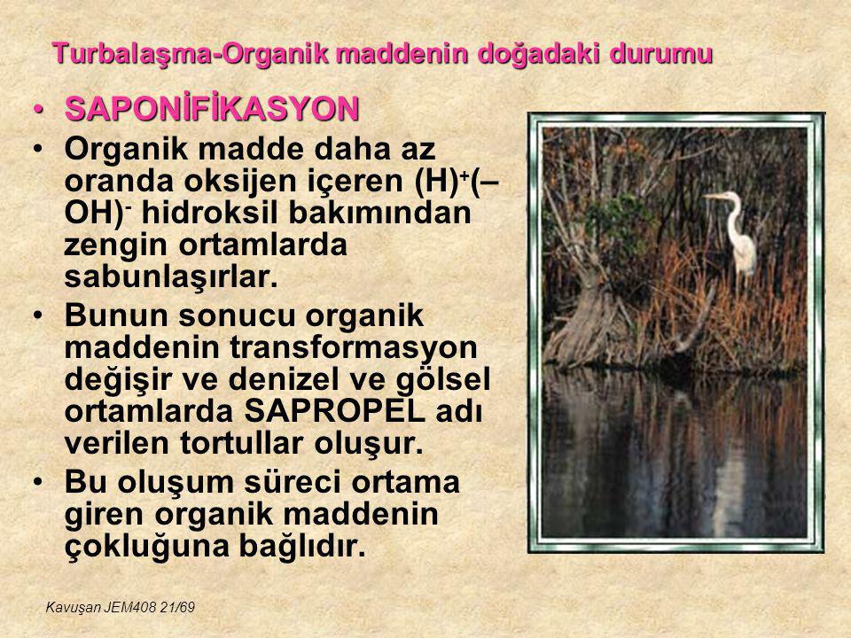 Turbalaşma-Organik maddenin doğadaki durumu SAPONİFİKASYONSAPONİFİKASYON Organik madde daha az oranda oksijen içeren (H) + (– OH) - hidroksil bakımınd