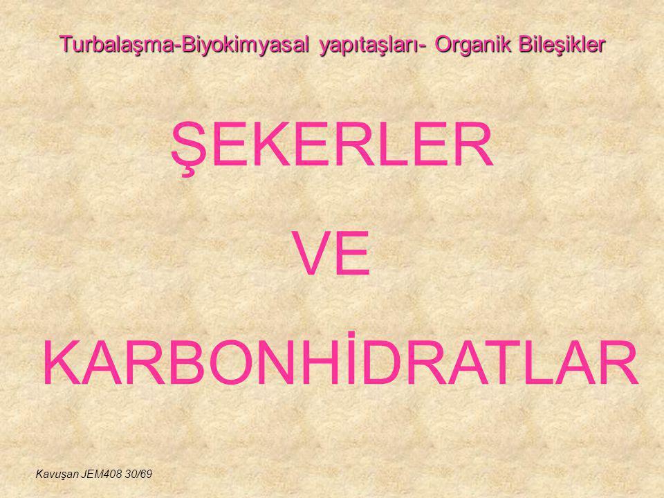 Turbalaşma-Biyokimyasal yapıtaşları- Organik Bileşikler ŞEKERLER VE KARBONHİDRATLAR Kavuşan JEM408 30/69