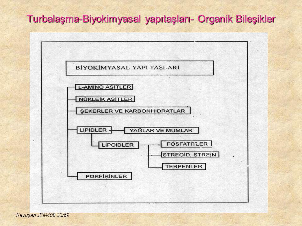 Turbalaşma-Biyokimyasal yapıtaşları- Organik Bileşikler Kavuşan JEM408 33/69