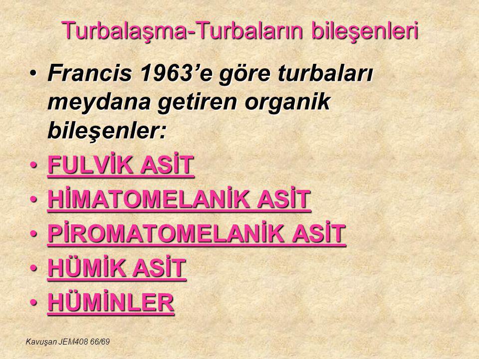 Turbalaşma-Turbaların bileşenleri Francis 1963'e göre turbaları meydana getiren organik bileşenler:Francis 1963'e göre turbaları meydana getiren organ