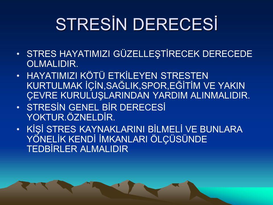 STRESİN DERECESİ STRES HAYATIMIZI GÜZELLEŞTİRECEK DERECEDE OLMALIDIR. HAYATIMIZI KÖTÜ ETKİLEYEN STRESTEN KURTULMAK İÇİN,SAĞLIK,SPOR,EĞİTİM VE YAKIN ÇE