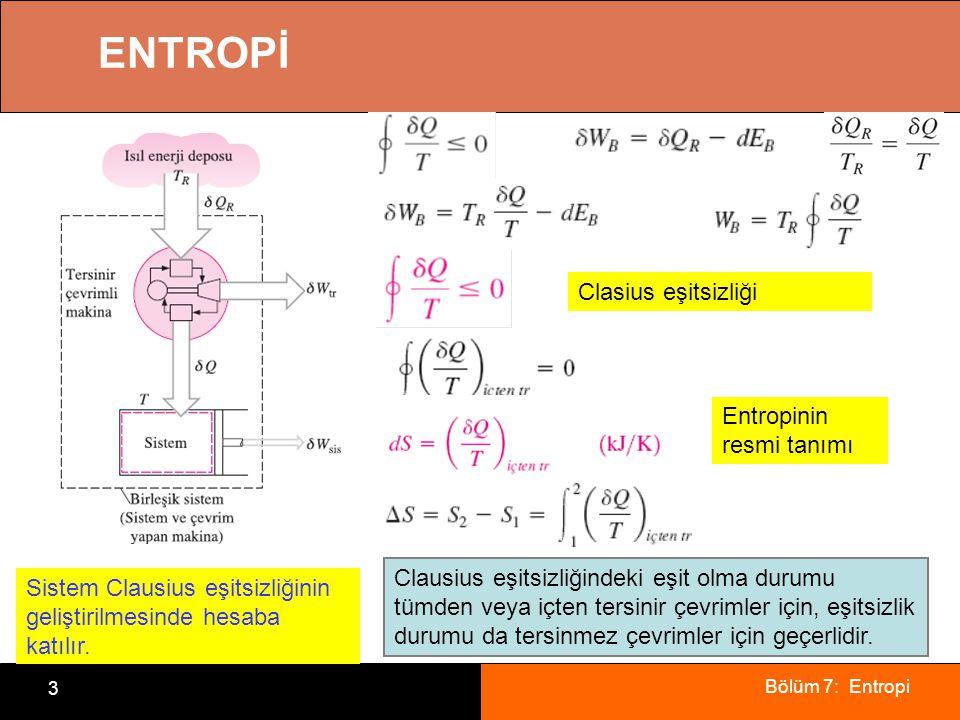 Bölüm 7: Entropi 3 ENTROPİ Sistem Clausius eşitsizliğinin geliştirilmesinde hesaba katılır. Clasius eşitsizliği Clausius eşitsizliğindeki eşit olma du