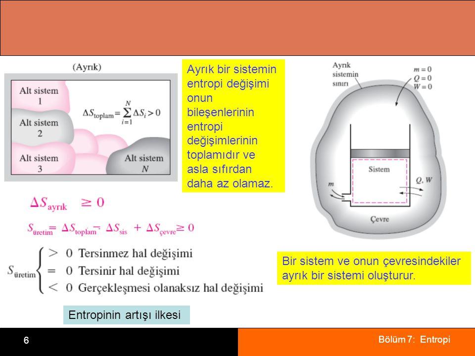 Bölüm 7: Entropi 6 Ayrık bir sistemin entropi değişimi onun bileşenlerinin entropi değişimlerinin toplamıdır ve asla sıfırdan daha az olamaz. Bir sist