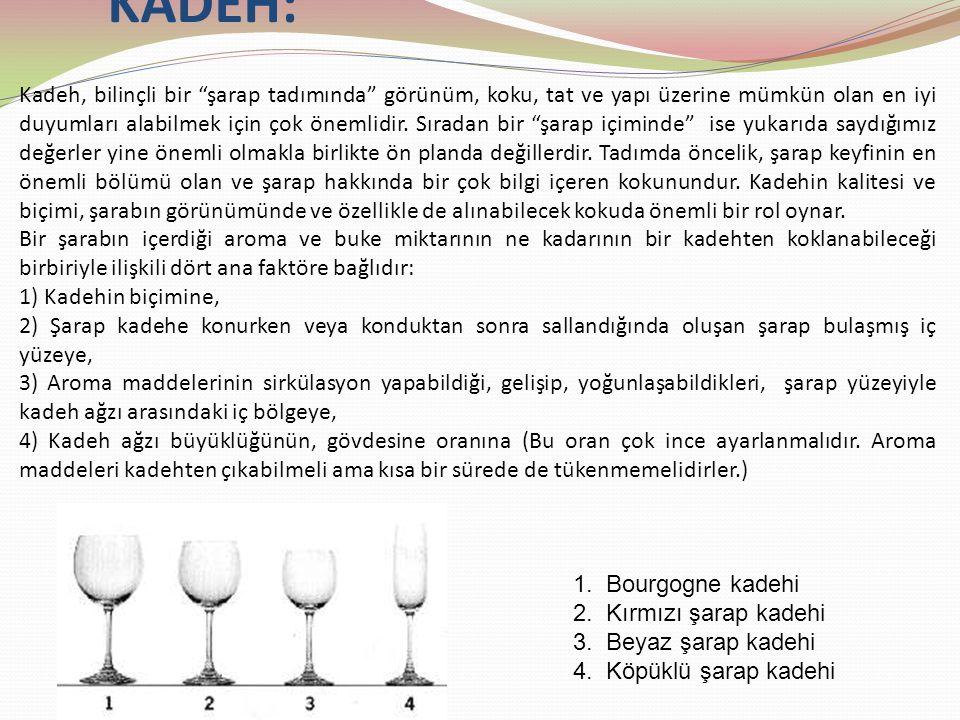 """KADEH: Kadeh, bilinçli bir """"şarap tadımında"""" görünüm, koku, tat ve yapı üzerine mümkün olan en iyi duyumları alabilmek için çok önemlidir. Sıradan bir"""
