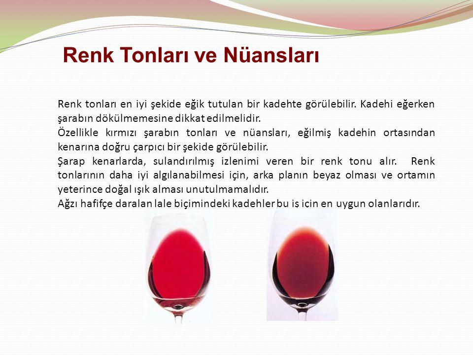 Renk tonları en iyi şekide eğik tutulan bir kadehte görülebilir. Kadehi eğerken şarabın dökülmemesine dikkat edilmelidir. Özellikle kırmızı şarabın to