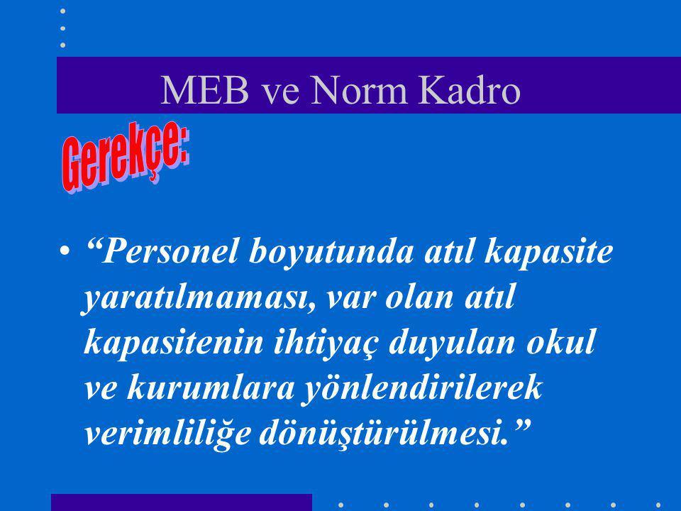 MEB ve Norm Kadro Personel boyutunda atıl kapasite yaratılmaması, var olan atıl kapasitenin ihtiyaç duyulan okul ve kurumlara yönlendirilerek verimliliğe dönüştürülmesi.