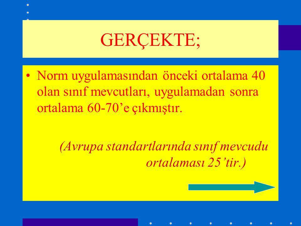 GERÇEKTE; Norm uygulamasından önceki ortalama 40 olan sınıf mevcutları, uygulamadan sonra ortalama 60-70'e çıkmıştır.