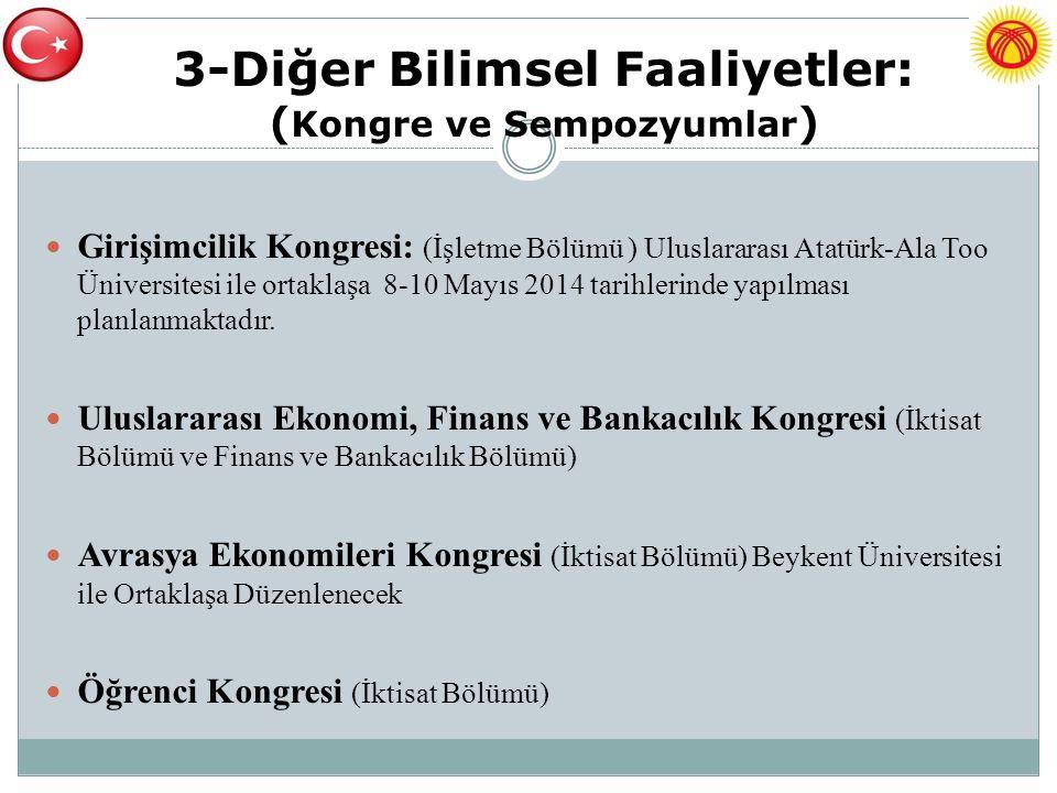 3-Diğer Bilimsel Faaliyetler: ( Kongre ve Sempozyumlar ) Girişimcilik Kongresi: (İşletme Bölümü ) Uluslararası Atatürk-Ala Too Üniversitesi ile ortakl