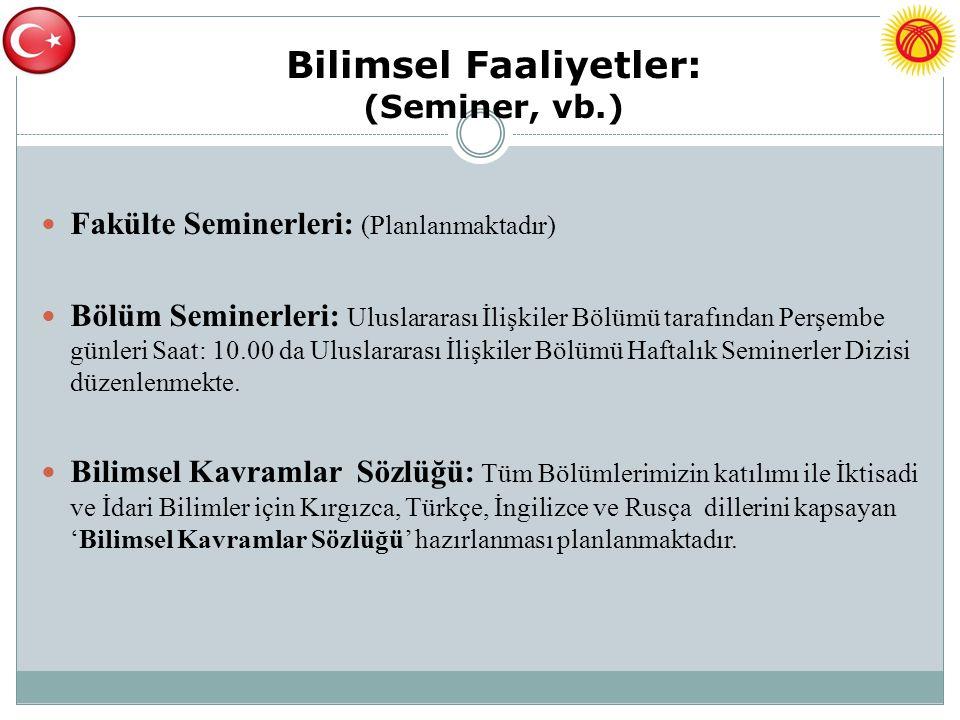 Bilimsel Faaliyetler: (Seminer, vb.) Fakülte Seminerleri: (Planlanmaktadır) Bölüm Seminerleri: Uluslararası İlişkiler Bölümü tarafından Perşembe günle
