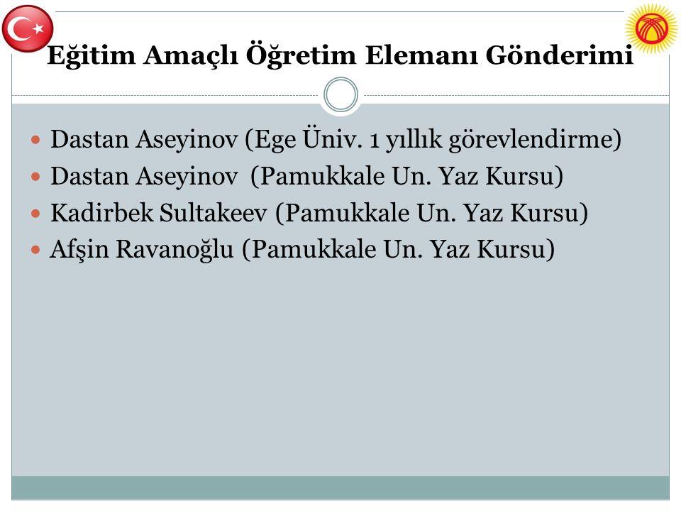 Eğitim Amaçlı Öğretim Elemanı Gönderimi Dastan Aseyinov (Ege Üniv. 1 yıllık görevlendirme) Dastan Aseyinov (Pamukkale Un. Yaz Kursu) Kadirbek Sultakee