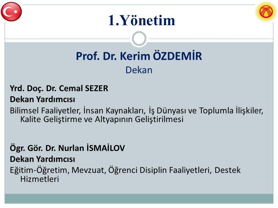 1.Yönetim Prof. Dr. Kerim ÖZDEMİR Dekan Yrd. Doç. Dr. Cemal SEZER Dekan Yardımcısı Bilimsel Faaliyetler, İnsan Kaynakları, İş Dünyası ve Toplumla İliş