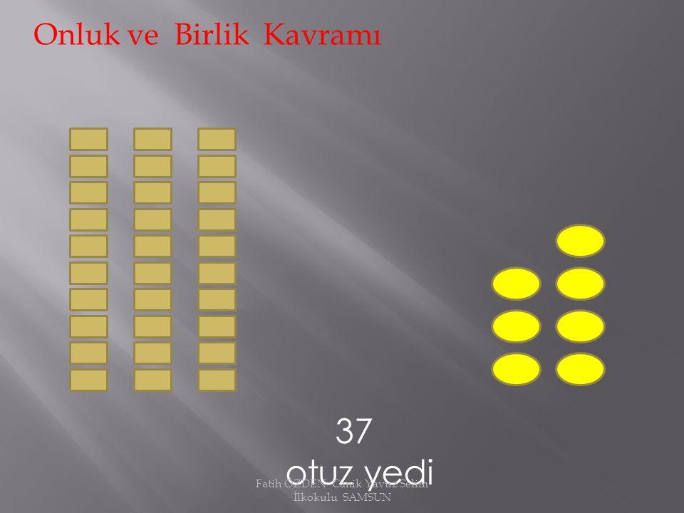 13 on üç Onluk ve Birlik Kavramı 1 onluk = 10 3 birlik Fatih ÖZDEN Canik Yavuz Selim İlkokulu SAMSUN