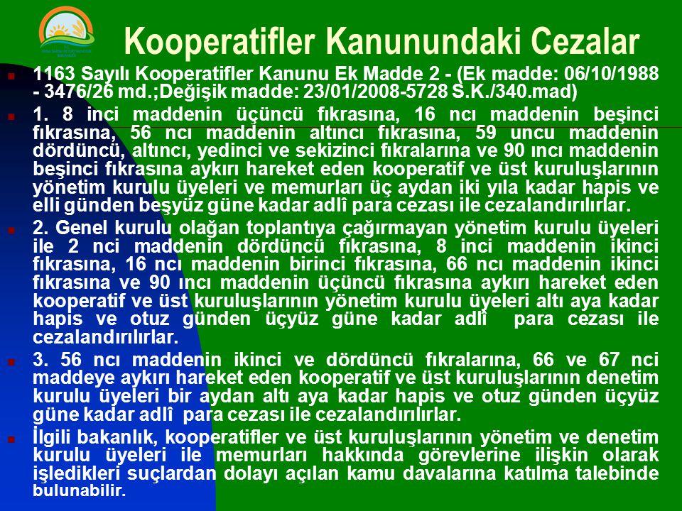 Kooperatifler Kanunundaki Cezalar 1163 Sayılı Kooperatifler Kanunu Ek Madde 2 - (Ek madde: 06/10/1988 - 3476/26 md.;Değişik madde: 23/01/2008-5728 S.K./340.mad) 1.