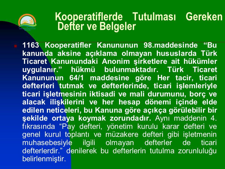 Kooperatiflerde Tutulması Gereken Defter ve Belgeler 1163 Kooperatifler Kanununun 98.maddesinde Bu kanunda aksine açıklama olmayan hususlarda Türk Ticaret Kanunundaki Anonim şirketlere ait hükümler uygulanır. hükmü bulunmaktadır.
