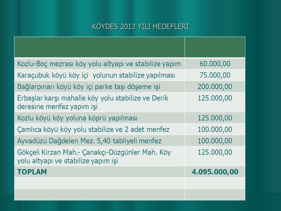 KÖYDES 2013 YILI HEDEFLERİ Kozlu-Boç mezrası köy yolu altyapı ve stabilize yapım60.000,00 Karaçubuk köyü köy içi yolunun stabilize yapılması75.000,00