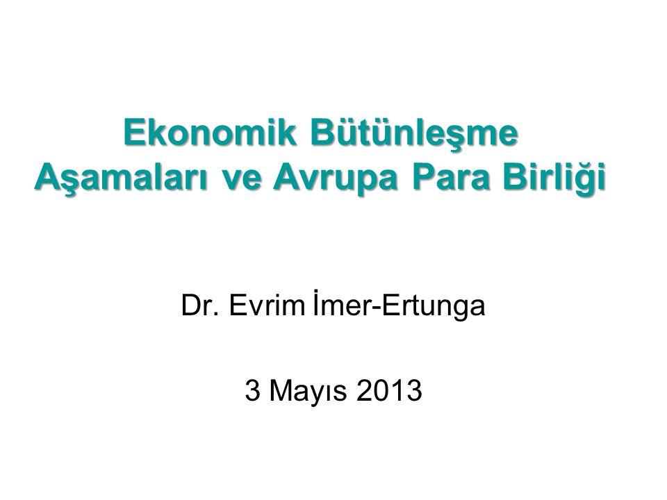 Ekonomik Bütünleşme Aşamaları ve Avrupa Para Birliği Dr. Evrim İmer-Ertunga 3 Mayıs 2013