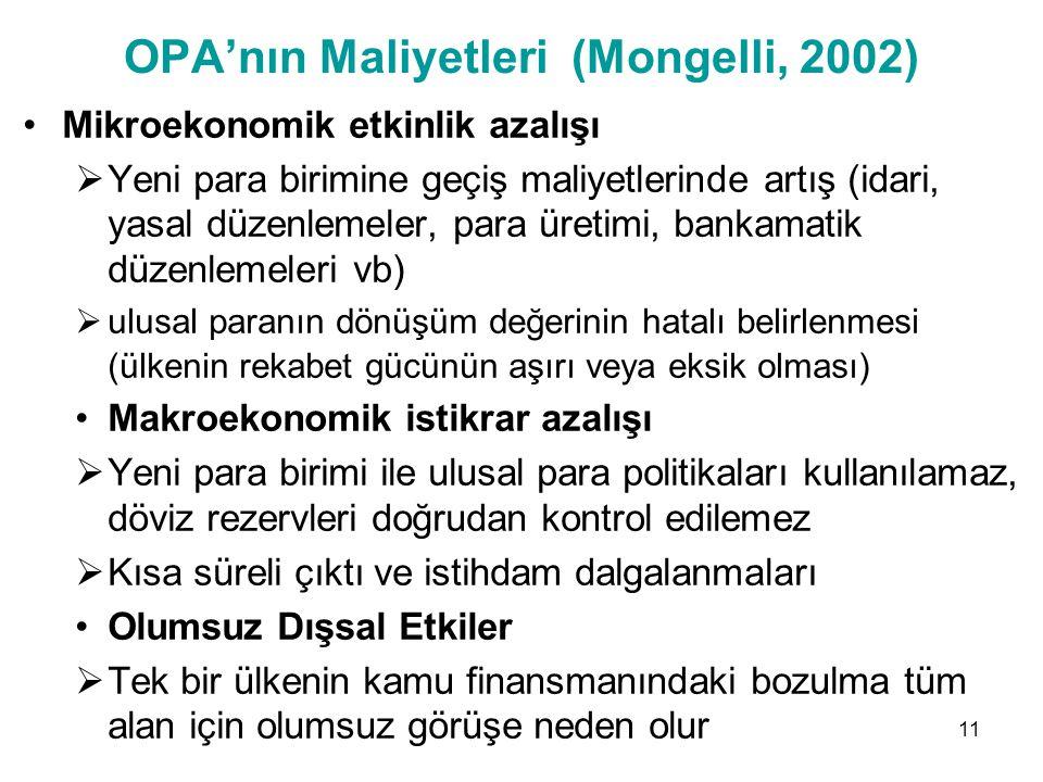 OPA'nın Maliyetleri (Mongelli, 2002) Mikroekonomik etkinlik azalışı  Yeni para birimine geçiş maliyetlerinde artış (idari, yasal düzenlemeler, para ü