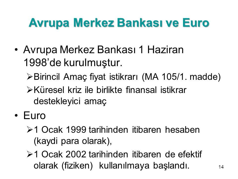 Avrupa Merkez Bankası ve Euro Avrupa Merkez Bankası 1 Haziran 1998'de kurulmuştur.  Birincil Amaç fiyat istikrarı (MA 105/1. madde)  Küresel kriz il