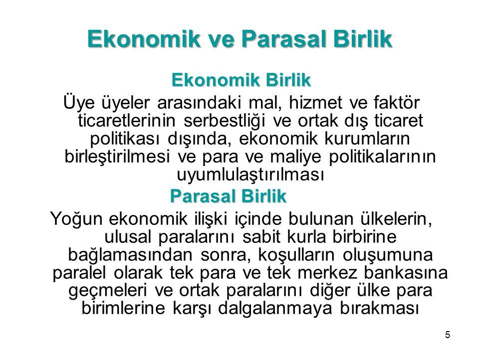 Ekonomik ve Parasal Birlik Ekonomik Birlik Üye üyeler arasındaki mal, hizmet ve faktör ticaretlerinin serbestliği ve ortak dış ticaret politikası dışı