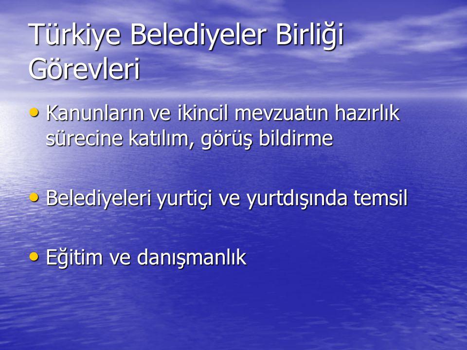 Türkiye Belediyeler Birliği Görevleri Kanunların ve ikincil mevzuatın hazırlık sürecine katılım, görüş bildirme Kanunların ve ikincil mevzuatın hazırlık sürecine katılım, görüş bildirme Belediyeleri yurtiçi ve yurtdışında temsil Belediyeleri yurtiçi ve yurtdışında temsil Eğitim ve danışmanlık Eğitim ve danışmanlık