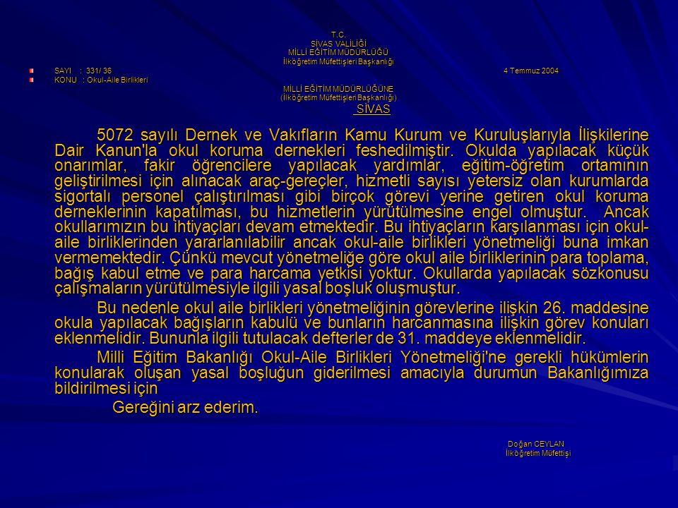 T.C. SİVAS VALİLİĞİ MİLLİ EĞİTİM MÜDÜRLÜĞÜ İlköğretim Müfettişleri Başkanlığı SAYI : 331/ 36 4 Temmuz 2004 KONU : Okul-Aile Birlikleri MİLLİ EĞİTİM MÜ