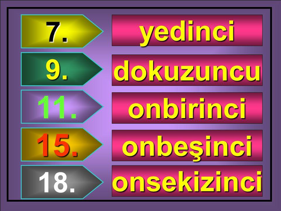1. 8. 6. 5. 10. birinci sekizinci altıncı beşinci onuncu