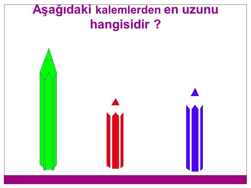 Aşağıdaki kalemlerden hangisi uzundur ?